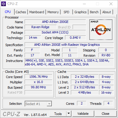AMD Athlon 200GE - screen CPU-Z