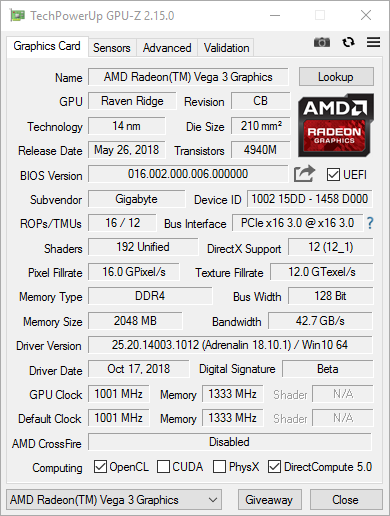 AMD Athlon 200GE - screen GPU-Z
