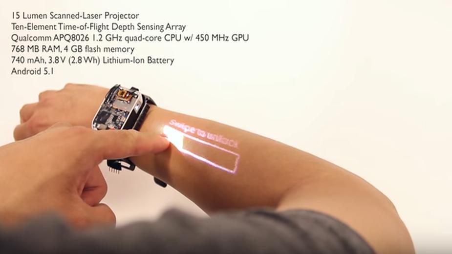 LumiWatch - smartwatch zmieniający skórę w ekran dotykowy