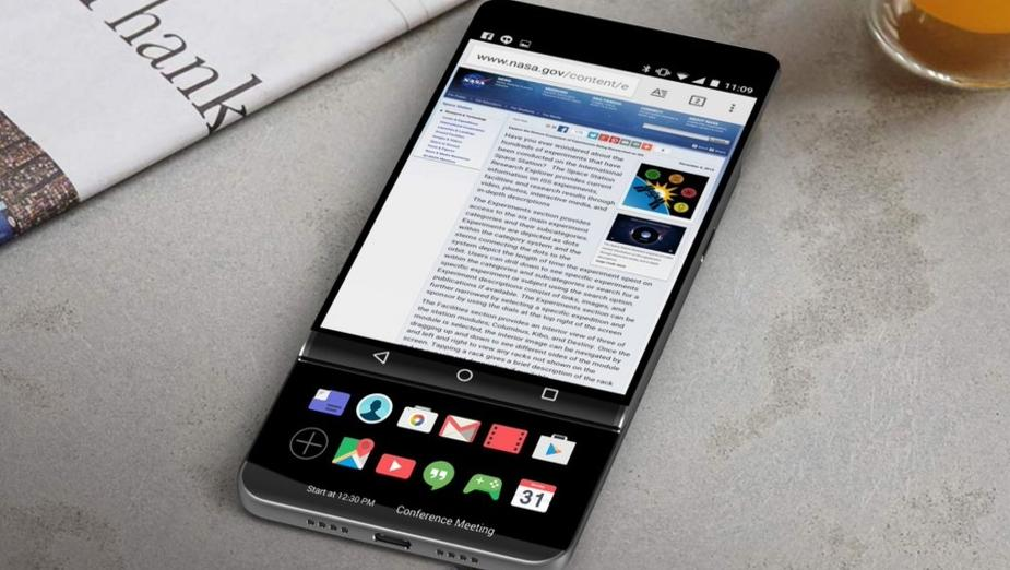 Rendery LG V30 - smartfona z dwoma ekranami